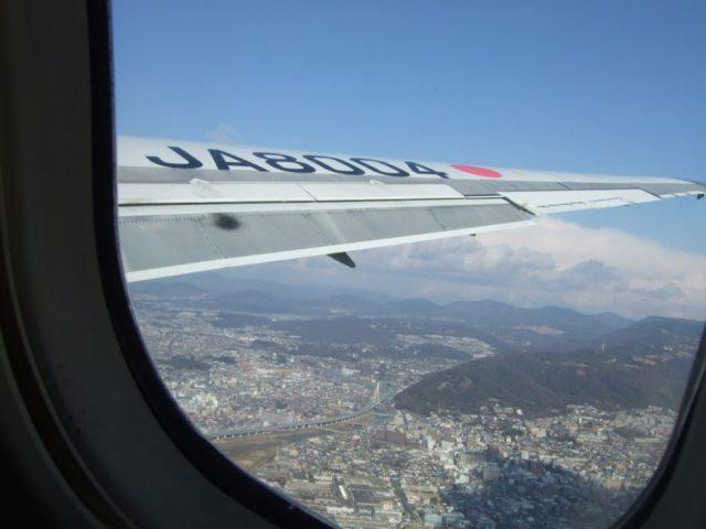 飛行機内から見た景色